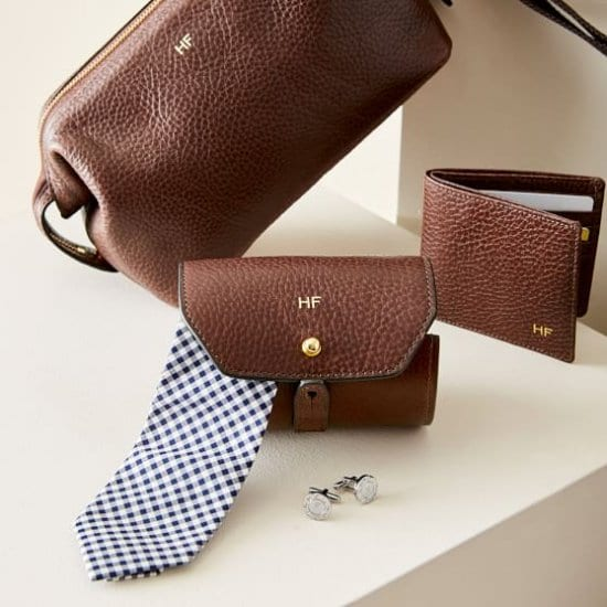 Monogrammed Leather Tie Roll