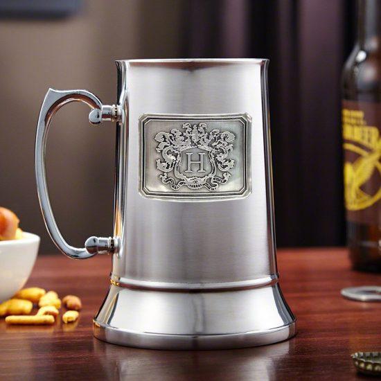 Steel Beer Stein with Monogrammed Pewter Crest