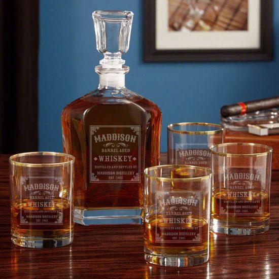 Custom Whiskey Label Decanter Set