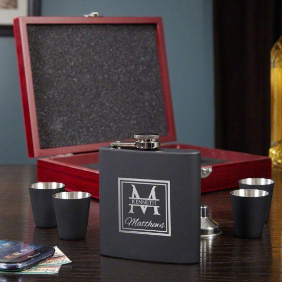 Custom Flask Set with Wood Box & Shotglasses