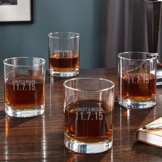 Wedding Date Engraved Whiskey Glasses