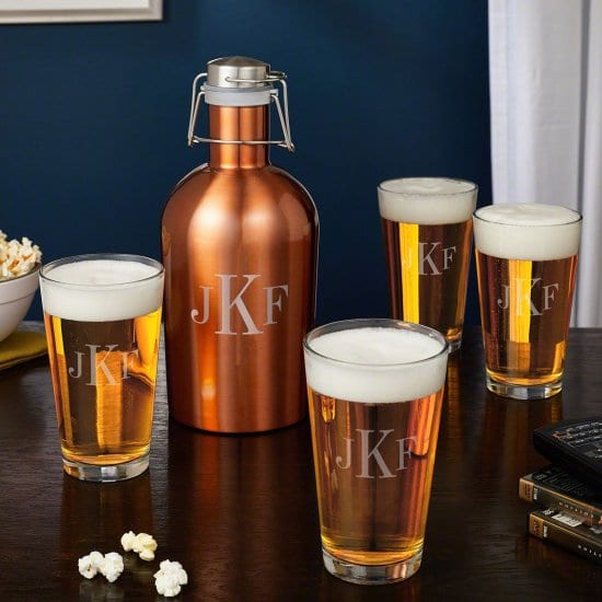 Monogrammed Beer Growler and Pint Glasses