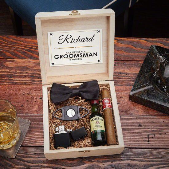Cigar Groomsmen Box with Bow Tie
