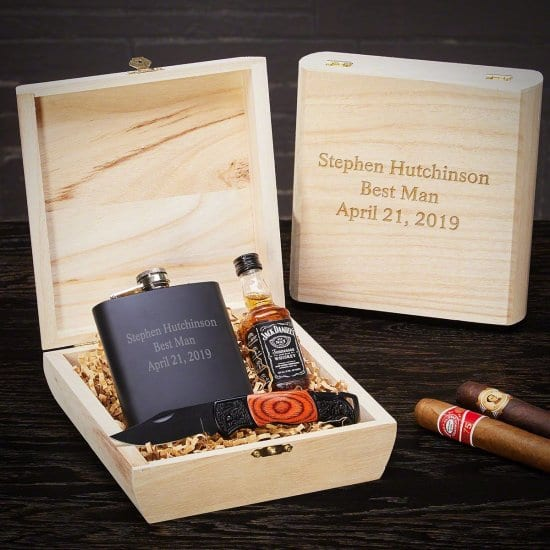 Personalized Flask Gift Set with Cigar Box
