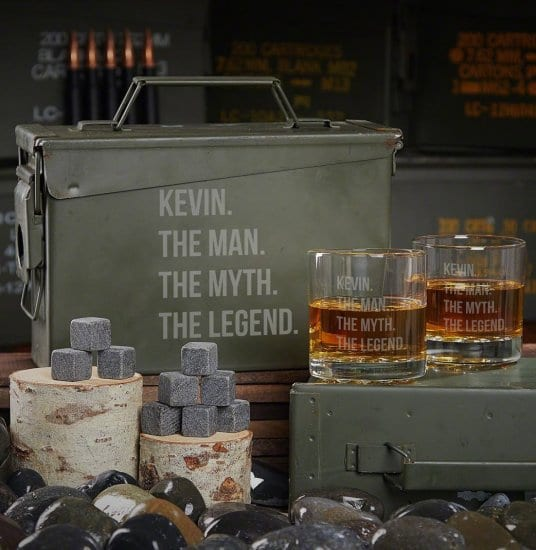 Genuine U.S. Military Ammo Can with Whiskey Glasses & Stones