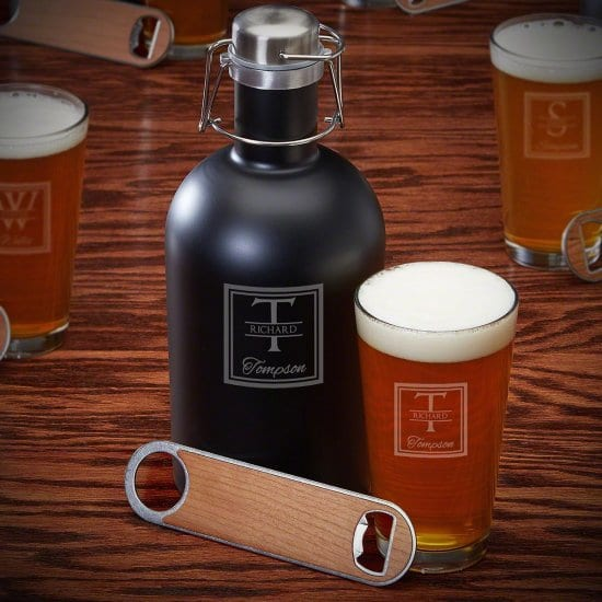 Beer Growler and Pint Glass Set with Bottle Opener
