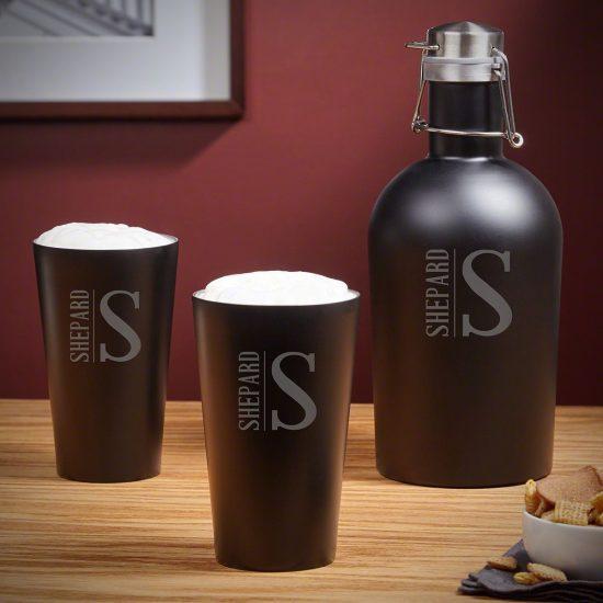 Stainless Steel Growler Pint Glass Set