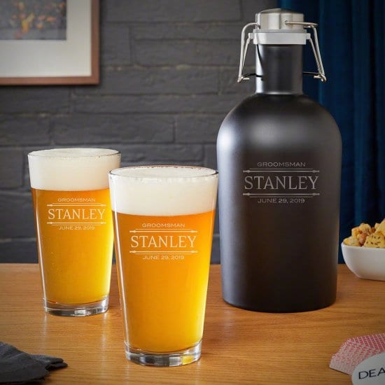 Engraved Beer Growler and Pint Glasses for Him