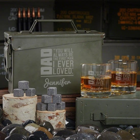 Personalized Whiskey Ammo Can Set for Dad From Daughter