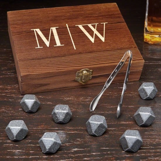 8 Black Onyx Whiskey Stones with Wooden Box
