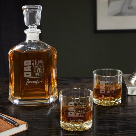 Personalized Whiskey Decanter Set Makes a Thoughtful Father's Day Gift from Daughter