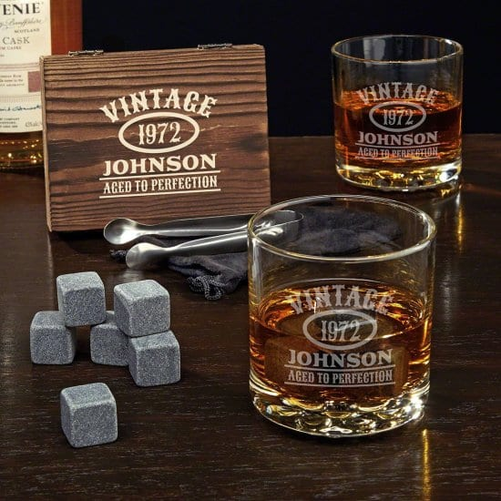 Personalized Whiskey Glasses with Whiskey Stones