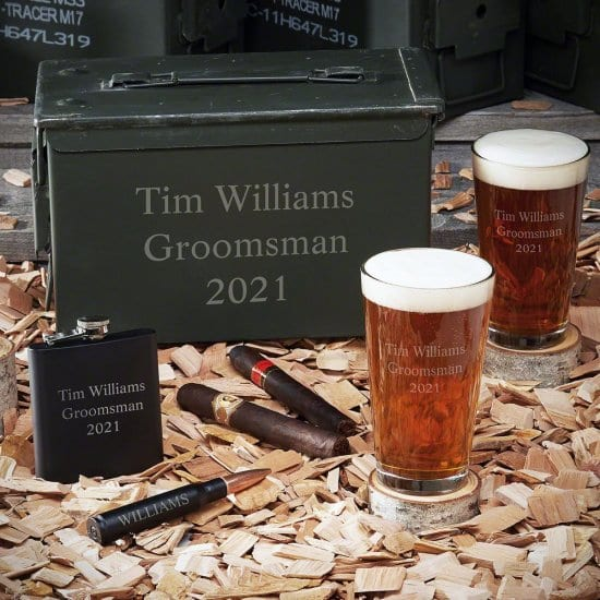 Personalized Beer Ammo Can Gift Set with Flask