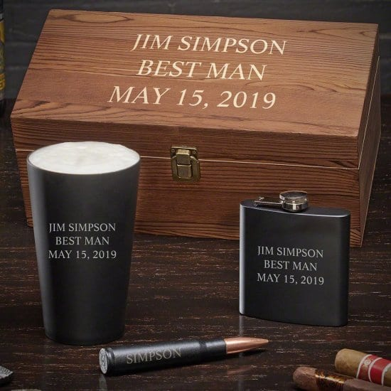 Personalized Groomsmen Gift Box with Flask