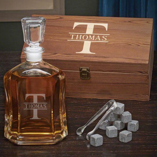 Custom Whiskey Decanter Box Set Boyfriend Birthday Gifts