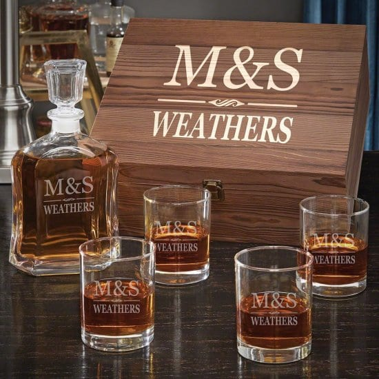 Custom Whiskey Decanter Set is the Perfect Personalized Wedding Gift