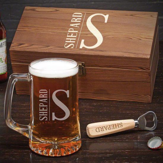 Custom Beer Mug and Bottle Opener