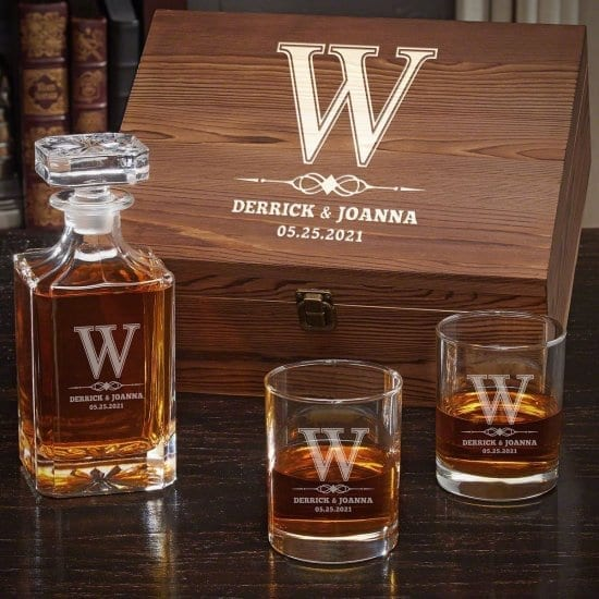 Large Engraved Wood Box with Decanter & Whiskey Glasses Gift