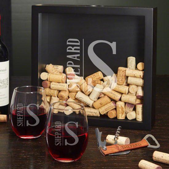 Shadowbox with Stemless Wine Glasses & Corkscrew