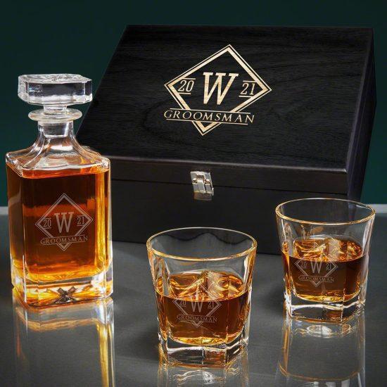 Engraved Bourbon Decanter Set for Best Man