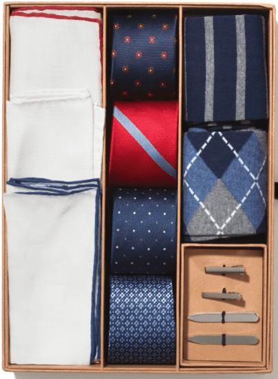 Groomsmen Gift Box with Ties, Socks, and Handkerchiefs