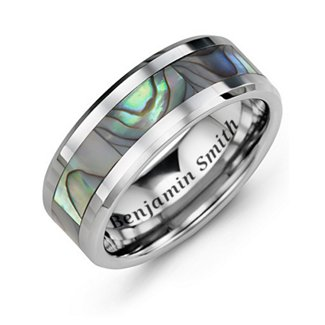 Tungsten Carbide Men's Ring with Abalone Inlay