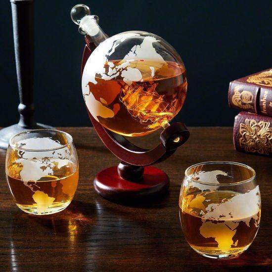 Romantic World Traveler Globe Decanter & Glasses Gift for Him