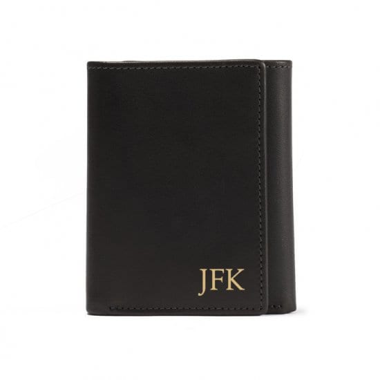 Leatherology Monogrammed Leather Trifold Wallet