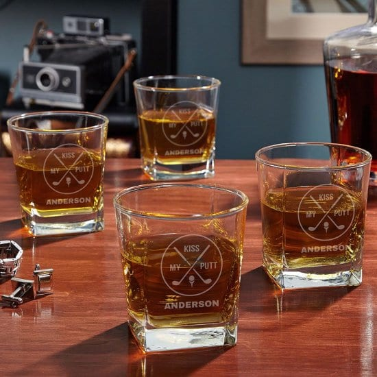 Kiss My Putt Whiskey Glasses Are a Funny Gift for Older Guys