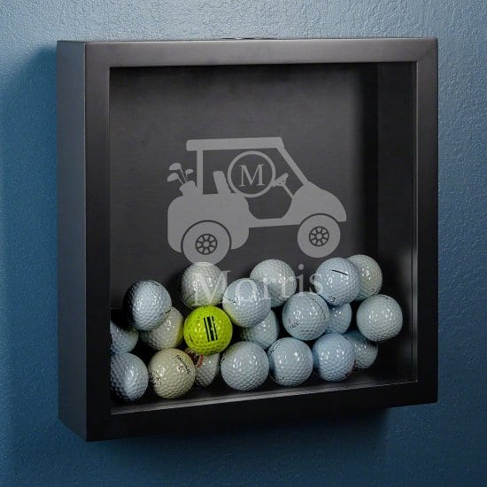 Collect Golf Balls in this Engraved Shadow Box