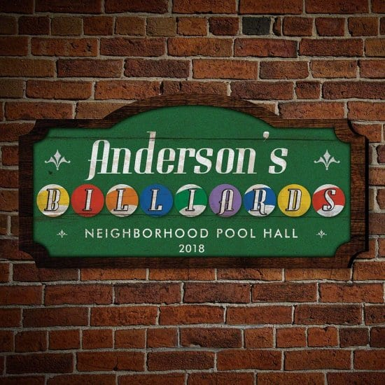 Custom Wooden Billiards Sign