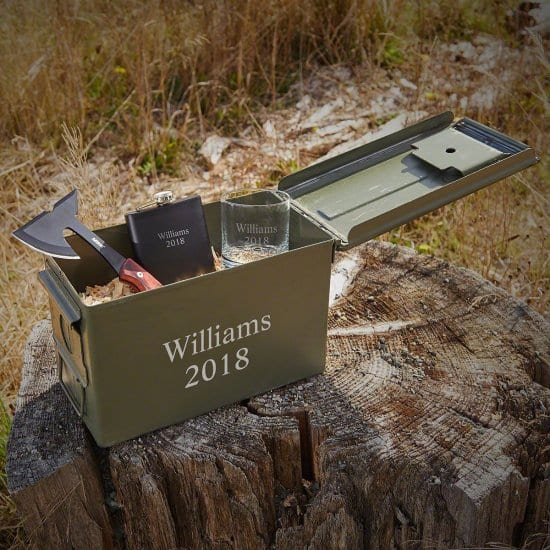 .50 Caliber Ammo Box with Axe, Flask, and Rocks Glass