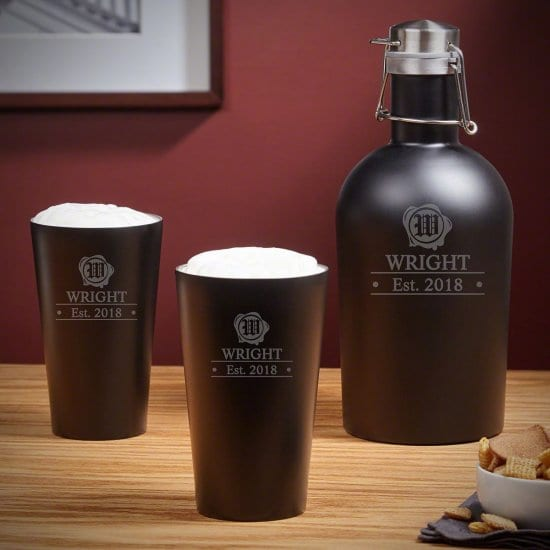 Engraved Stainless Steel Beer Growler with Pint Glasses