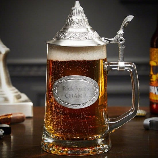German Beer Stein with Lid and Personalized Pewter Crest