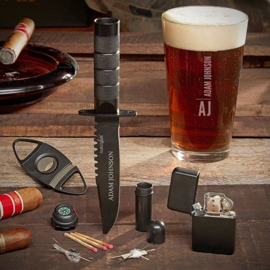 Cool Personalized Beer and Cigar Gift Set for Men