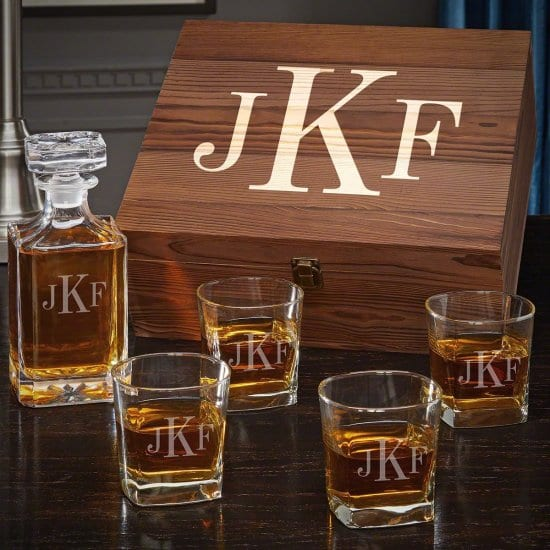 Classy Whiskey Glasses & Decanter for Dad