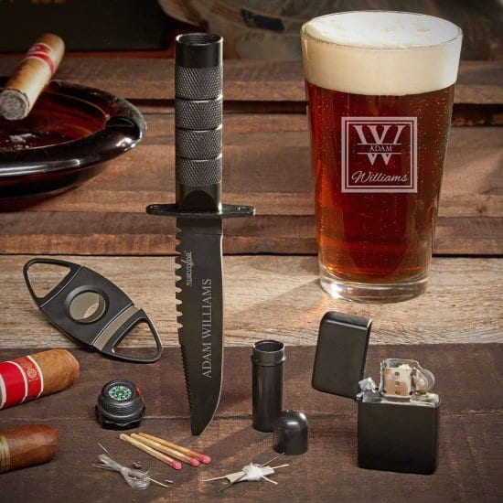 Engraved Tactical Knife and Pint Glass with Lighter