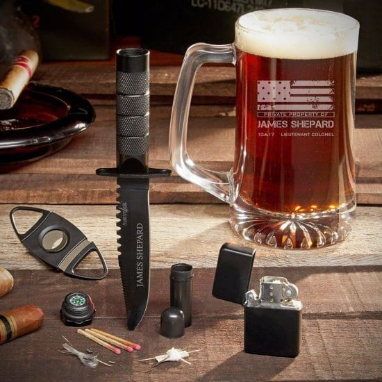 Custom Knife & Beer Mug an Older Guy Will Love