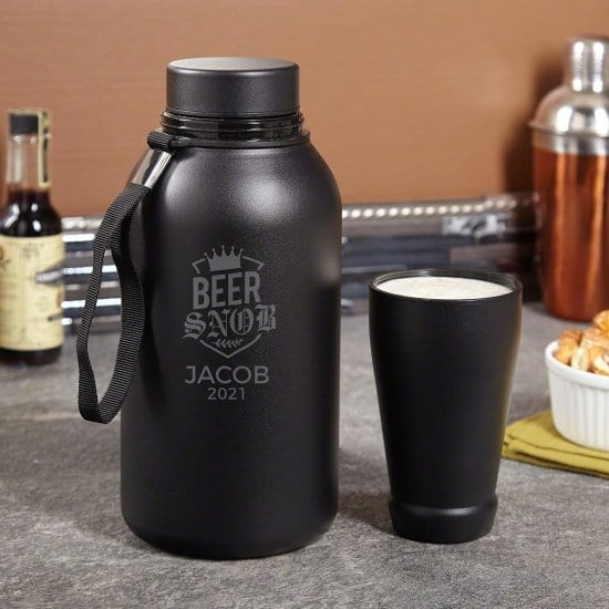 Engraved Beer Growler with Travel Cup