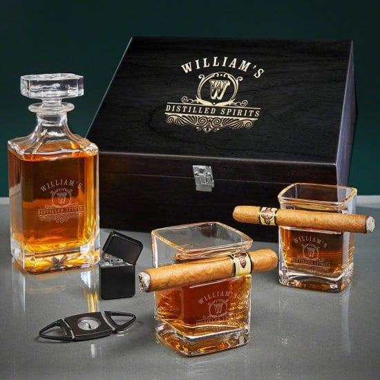 Engraved Cigar and Whiskey Decanter Set