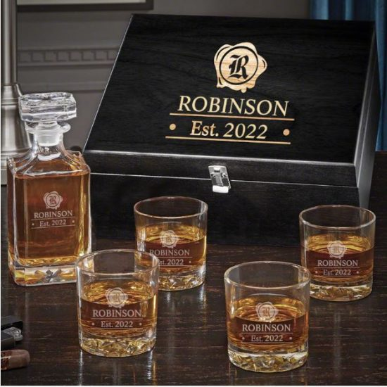 Etched Decanter and Glasses Set