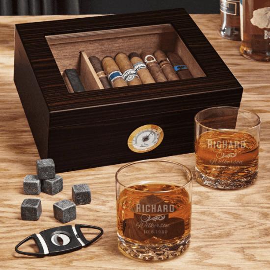Humidor with Custom Whiskey Glasses