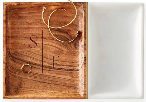 Wood and Marble Monogrammed Jewelry Tray