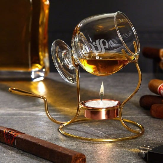 Engraved Brandy Snifter with Warmer