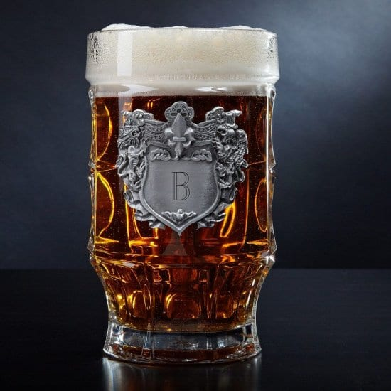 German Beer Mug with Regal Pewter Crest