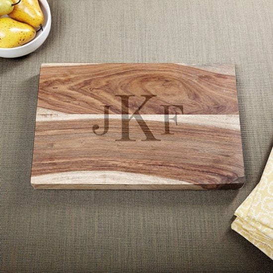 Monogrammed Cutting Board Gift for 50 Year Old Man