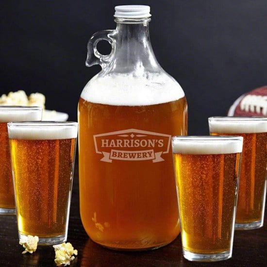 Glass Beer Growler and Beer Glasses