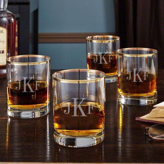 Set of Four Monogrammed Gold Rimmed Whiskey Glasses