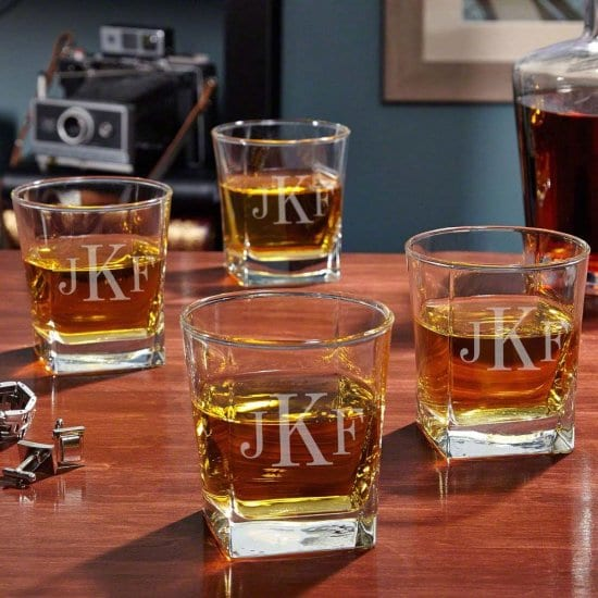 Set of Four Monogrammed Whiskey Glasses