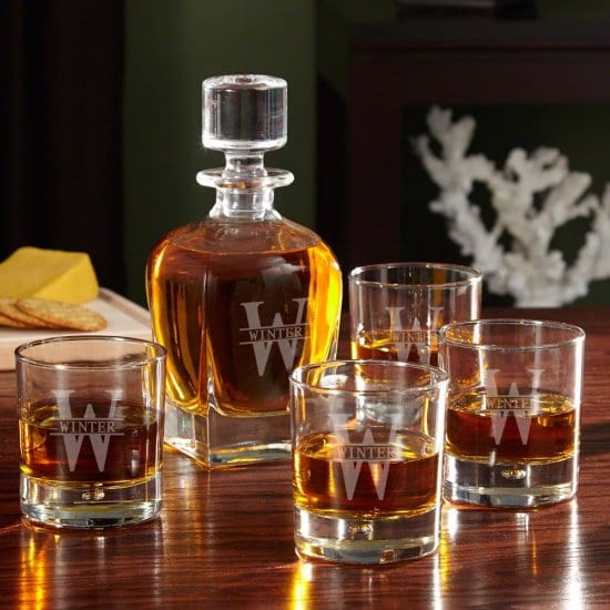 Personalized Whiskey Decanter Set of 50th Birthday Gift Ideas for Men